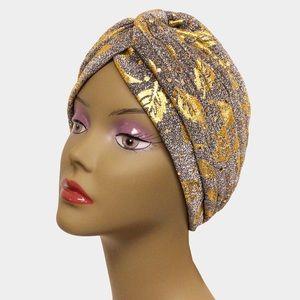 Gold Glam Glitter Leaf Turban Hat